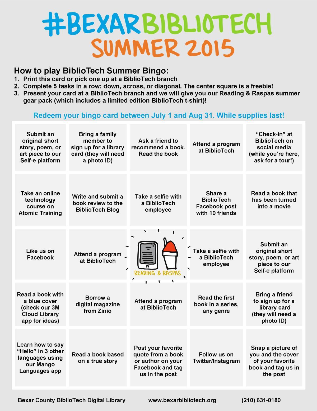 BiblioTech Summer Bingo
